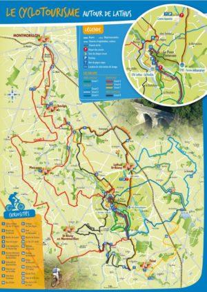 carte route VTT cyclotourimse CPA Lathus Vienne