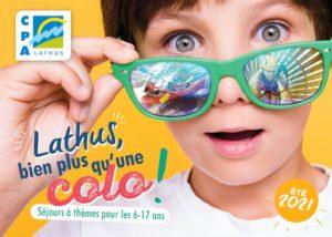 comp d'été - couverture du dépliant des colos du CPA Lathus 2021
